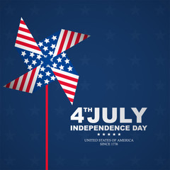 fourth july happy independence day with pinwheels, suitable for independence day greeting card, 4th of july