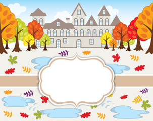 Vector Card Template with Autumn Landscape.  House, Trees and Leaves on Background.