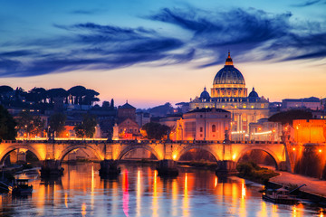 Aluminium Prints View to bridge and Vatican City at sunset. Rome, Italy