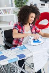 beautiful woman doing some ironing