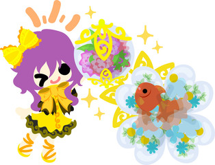 A cute little girl and a goldfish bowl and a flower jewel