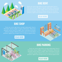 City bike concept vector banners in isometric style. Illustration in flat 3d design. Bicycle parking, repair shop and bike for rent. Web banners template layout