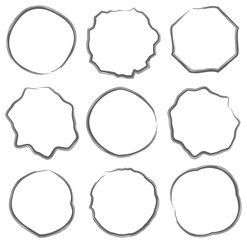 line cercle of text box set - brush draw vector set