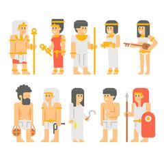 Ancient egyptian people set cartoon design