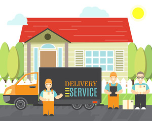 Delivery service icons in cartoon style. Relocation service company deliver boxes by truck. Vector isolated objects