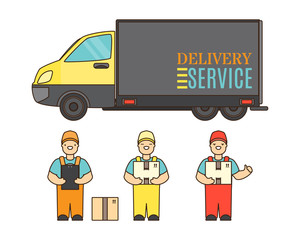 Delivery service concept poster in cartoon style. Relocation service company deliver boxes by truck