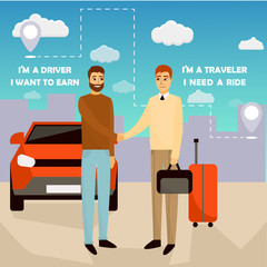 Carpooling concept vector illustration in cartoon style. Carpool and car sharing service poster. Two men shaking hands in front of the car
