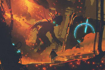 sci-fi concept of man looking at giant robot with burning city on background, digital art style, illustration painting