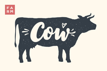 Farm animals set. Isolated cow silhouette and words Cow, Farm. Creative graphic design with lettering Cow for butcher shop, farmer market. Poster for animals theme. Vector Illustration