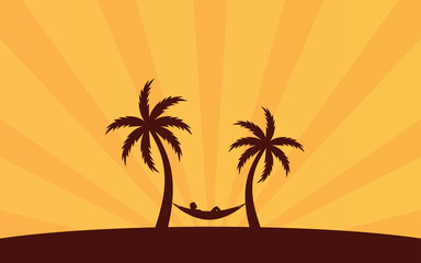 Silhouette palm tree with hammock on beach and sunshine ray background