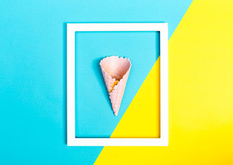 Ice cream cone on a bright split color background