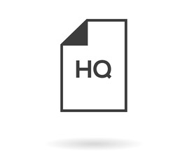 Isolated symbol of file with HQ text - high quality, e. g. for download file (video, multimedia) in high quality, or hq picture, etc., black outline with shadow on white background, isolated
