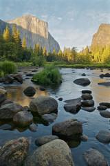 Valley View - El Capitan and the river Merced at Sunset, Yosemite, California, USA
