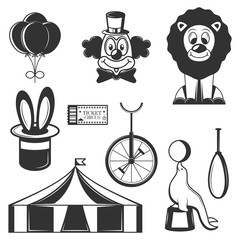 Vector set of circus isolated icons. Black and white circus symbols and design elements.