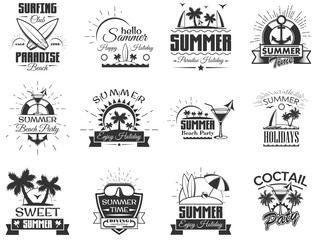 Vector set of summer season labels in vintage style. Design elements, icons, logo. Summer camp, beach holidays, tropical sea vacations. - stock vector