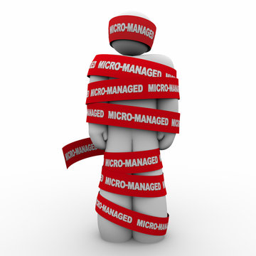 Micro-Managed Worker Employee Red Tape Immobilized 3d Illustration