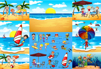 Ocean scenes with tourists having fun