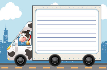 Line paper template with cow in the truck