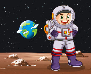 Astronaut standing on planet
