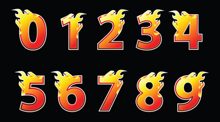 Numbers fire logo design.
