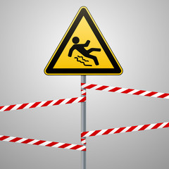 Caution - danger Beware of slippery. Safety sign. The triangular sign on a metal pole with warning bands. Gray background. Vector
