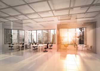 3D rendering, Modern empty elegant office with windows and workplaces at morning
