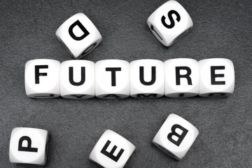 word future on toy cubes