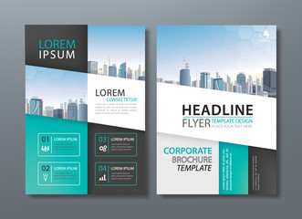 Blue green black Annual report brochure flyer design template vector, Leaflet, book cover templates, layout in A4 size.