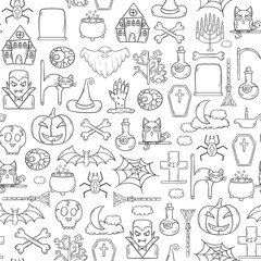 Vector cartoon hand drawn Halloween background