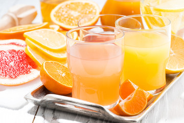 fresh citrus juices in assortment