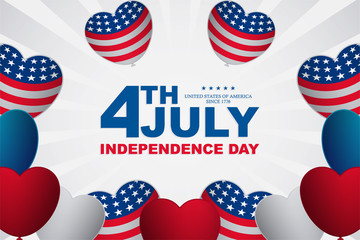 fourth july creative banner with text in the middle, independence day