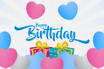 happy birthday creative banner with text in the middle