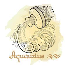 Hand drawn line art of decorative zodiac sign Aquarius .