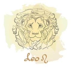 Hand drawn line art of decorative zodiac sign Leo.