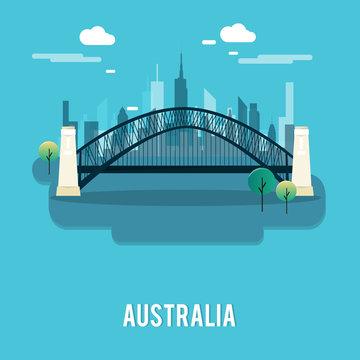 Sydney Harbour Bridge bautiful place Australia illustration design