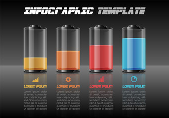 Modern colorful infographics options template vector with colorful battery on black background