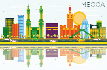 Mecca Skyline with Color Landmarks, Blue Sky and Reflections.