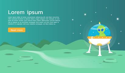 Ufo alien spaceship exploring planet illustration desighn
