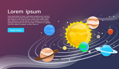 Solar system with planets illustration flat design