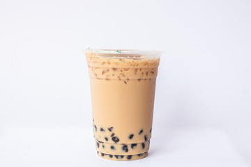ice milk tea with bubble jelly on the white background, Isolate Ice milk tea