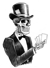 Skeleton with a playing cards