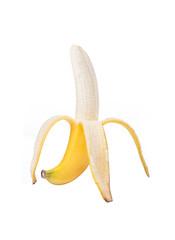 half peeled banana on white background