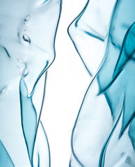 Abstract blue art in the form of transparent figures