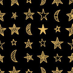 Hand drawn star doodles seamless pattern in gold color on black background