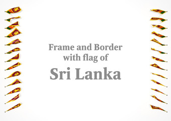 Frame and border with flag of Sri Lanka. 3d illustration