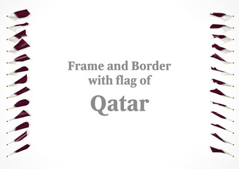 Frame and border with flag of Qatar. 3d illustration
