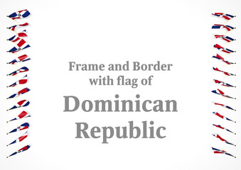 Frame and border with flag of Dominican Republic. 3d illustration