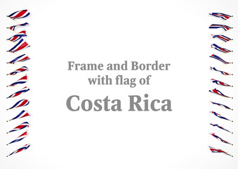 Frame and border with flag of Costa Rica. 3d illustration