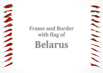 Frame and border with flag of Belarus. 3d illustration