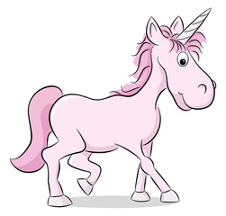 rosa Cartoon Einhorn